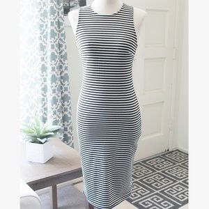 Black & White Striped Figure Hugging BodyCon Dress