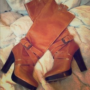 Shoes - Brown Leather Platform Boots