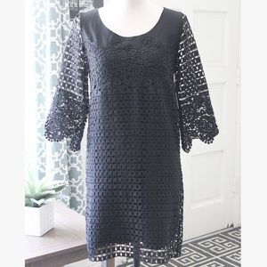 JustFab // Black Crocheted Flower Dress