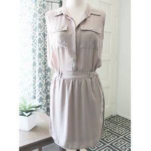 Tan Military Inspired Sleeveless Dress