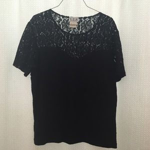 Black stretch lace illusion shirt plus size 1X