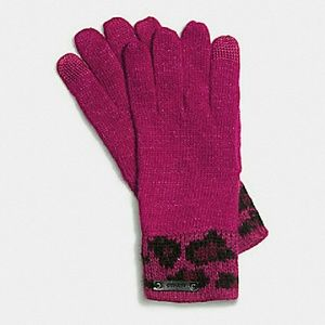 💞COACH OCELOT TECH TOUCH KNIT GLOVE