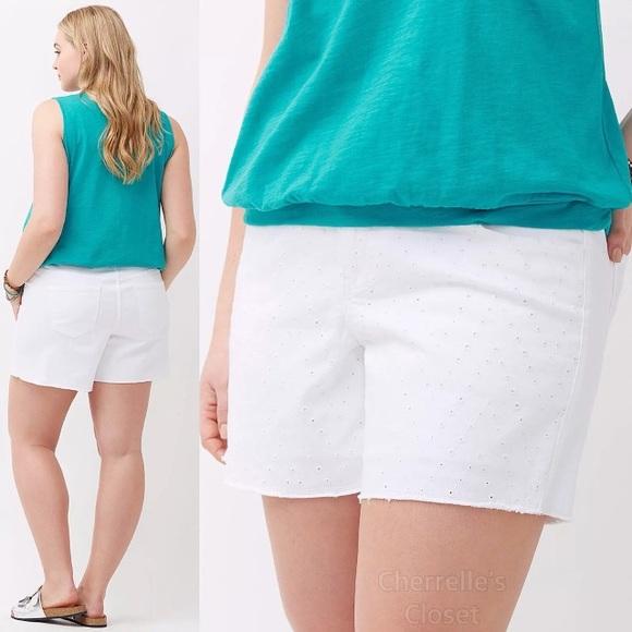 a2d6040a4ff Lane Bryant White Denim Eyelet Shorts Plus Size 26