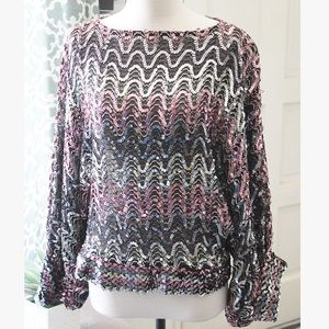 VINTAGE Miss H 1970s Dolman Pink Sequin Top