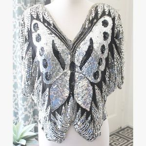 Vintage Sequined Butterfly 1970s Top