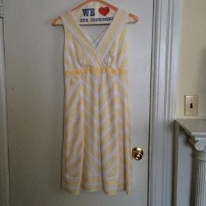 NWOT Yellow and White Striped A-Line Dress
