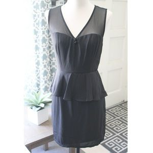 Black Mesh & Peplum Chic Dress
