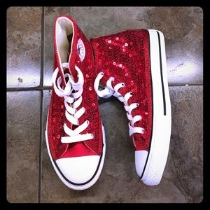 5c1ae5e94211 Converse Shoes - Kids red sequin Converse high tops sneakers shoes