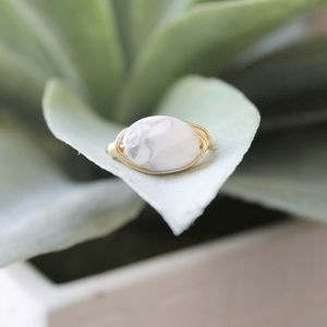 Handmade White Marbled Howlite Wire Wrapped Ring