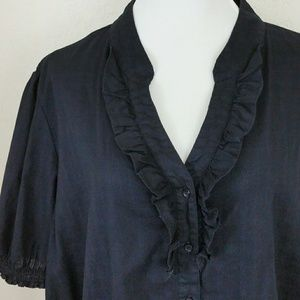 Just My Size Tops - Black Cotton Button Down Blouse