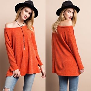 Sweaters - Knit Sweater Boxy Tunic- RUST
