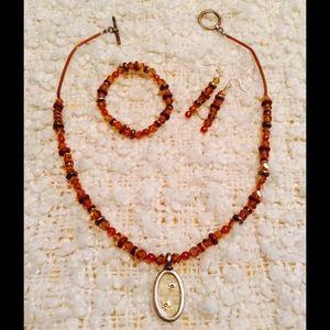 Jewelry - Amber Beaded Set of Necklace, Earrings & Bracelet!