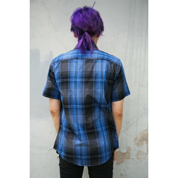 Tony Hawk Shirts - Tony Hawk Blue Black Plaid Tartan Check Button Top