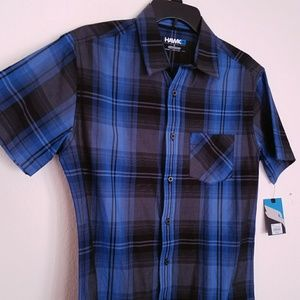 Tony Hawk Shirts - HP Tony Hawk Blue Black Plaid Tartan Check Button