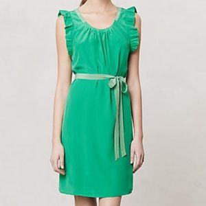 Anthropologie Girls from Savoy Green Silk Dress