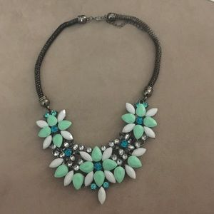 Jewelry - Statement necklace green white floral rhinestones