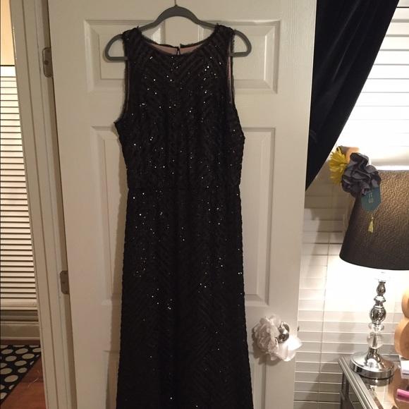 Calvin Klein Dresses | Black Sequin Formal Dress Worn Once | Poshmark
