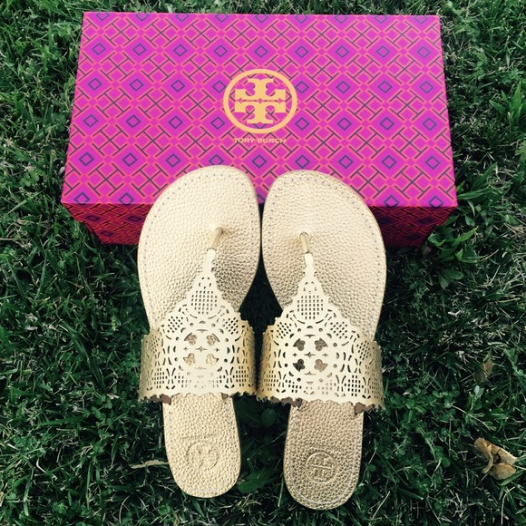 be5b71f18abc4  Tory Burch  RARE Gold Roselle Flat Sandals