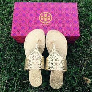 {Tory Burch} RARE Gold Roselle Flat Sandals