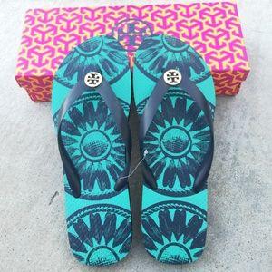 Tory Burch Shoes - {Tory Burch} Green Flip-flops