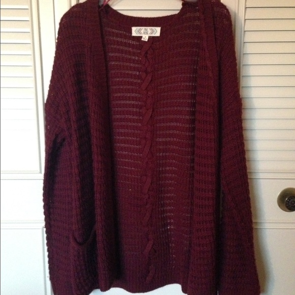 70% off Pink Rose Sweaters - Dark Purple/Burgundy Cardigan from ...