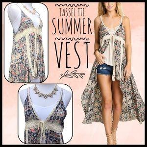 Boutique Jackets & Blazers - Tassel Tie Vest