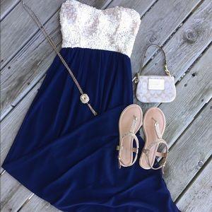 Dresses & Skirts - Navy Ivory sequin strapless summer long maxi dress