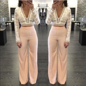 d24433dc Zara Pants | High Waisted Wide Leg Straight Palazzo Peach | Poshmark