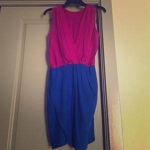 Purple blue colorblock dress