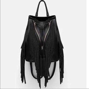 New Zara fringe convertible backpack