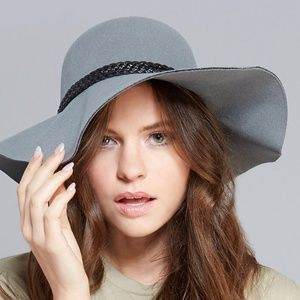 Accessories - Gray Wide Brim Fedora Floppy Hat