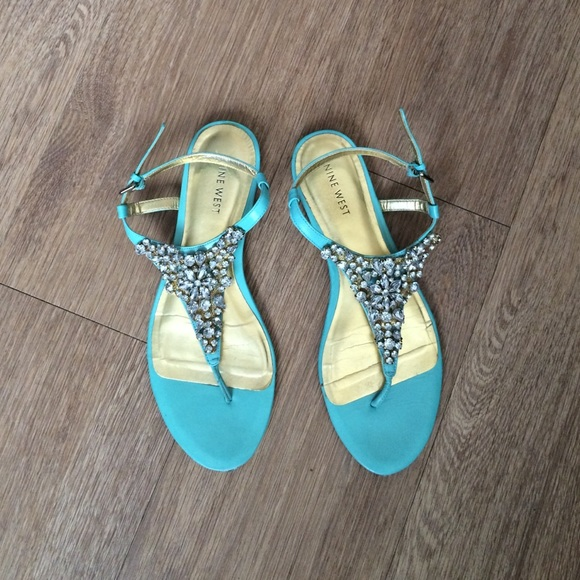 43f996b03f2f8 Nine West turquoise jeweled sandals. M 5796529d6d64bc01a908c2b1