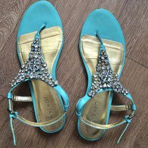ef7603efbdfc0 Nine West Shoes - Nine West turquoise jeweled sandals