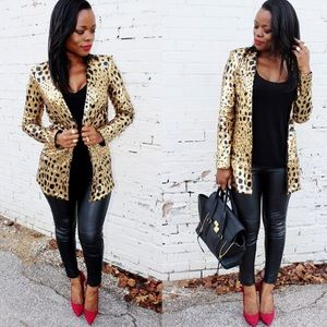 Nasty Gal Jackets & Blazers - 🚫SOLD LOCALLY Leopard Sequins Blazer