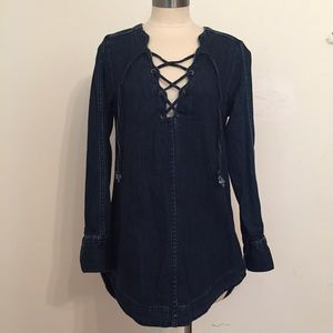 Freepeople lace up denim tunic