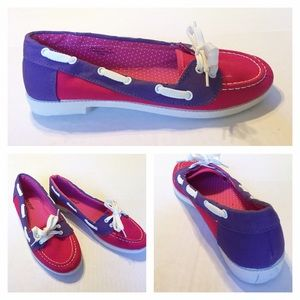 Bamboo Shoes - Pink and Purple Boat Shoe Loafers