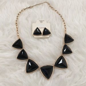 Black & rose gold statement necklace & earrings