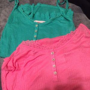 Victoria's Secret Sleep Camisole Henley Pink Green
