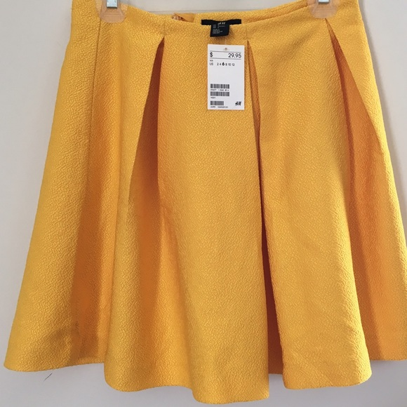 7a17350436 H&M Dresses & Skirts - H&M: Pleated mustard yellow skirt