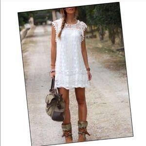 Cream lace mini dress large