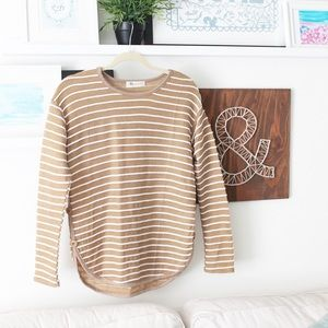 Striped Nautical-Inspired Brown Sweater