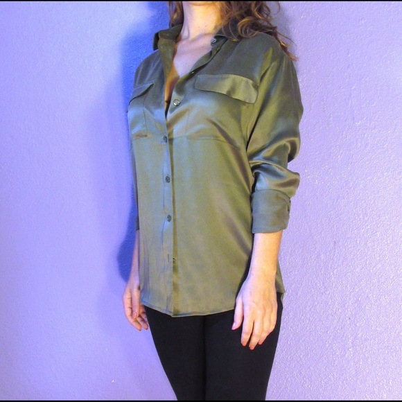 15f50d2683e654 Equipment Tops | Femme Olive Green Signature Silk Shirt | Poshmark