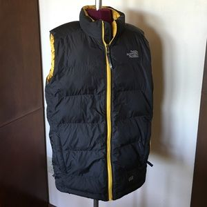 The North Face Other - The North Face Gray Yellow Puffer Vest Boys XL