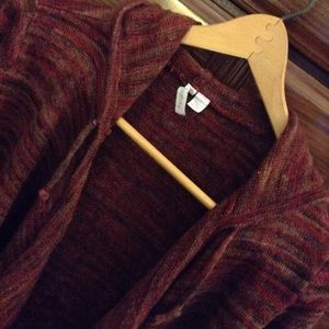 Relativity Sweaters - Red/brown tone open front sweater with hood - cozy