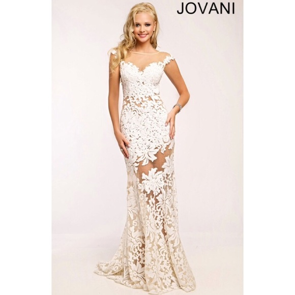 Jovani Dresses | White Lace Sheath Prom Dress 21226 | Poshmark
