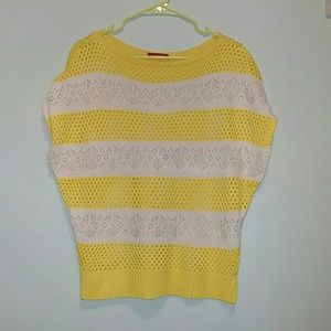 Yellow and beige stripe sweater. Size small.