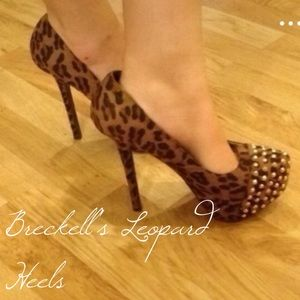 Breckelles Shoes - Breckelle's Leopard Print Gold Studded Heels