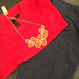 Bright Orange Glo Teardrop Natasha necklace.