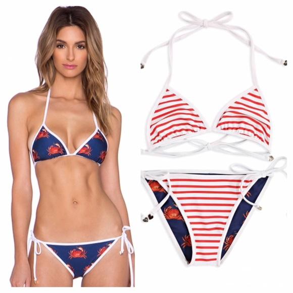 af19c50941 NEW Wildfox reversible Crabby bikini top