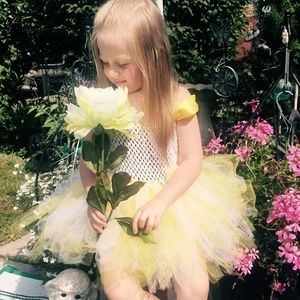 BEST OF CREATIONS BY RUTH  Other - GIRLS HANDCRAFTED🌻 YELLOW & 🌼WHITE TULLE DRESS